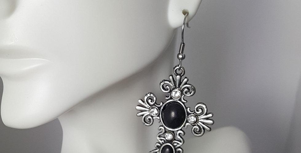 Antiqued Large Cross Earrings - Black