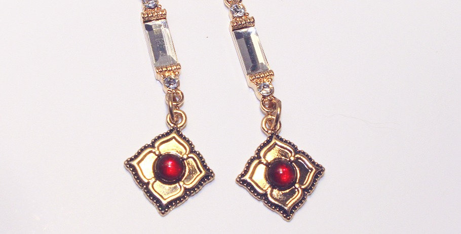 Clear Rectangle and Red Flower Petal Charm Earrings