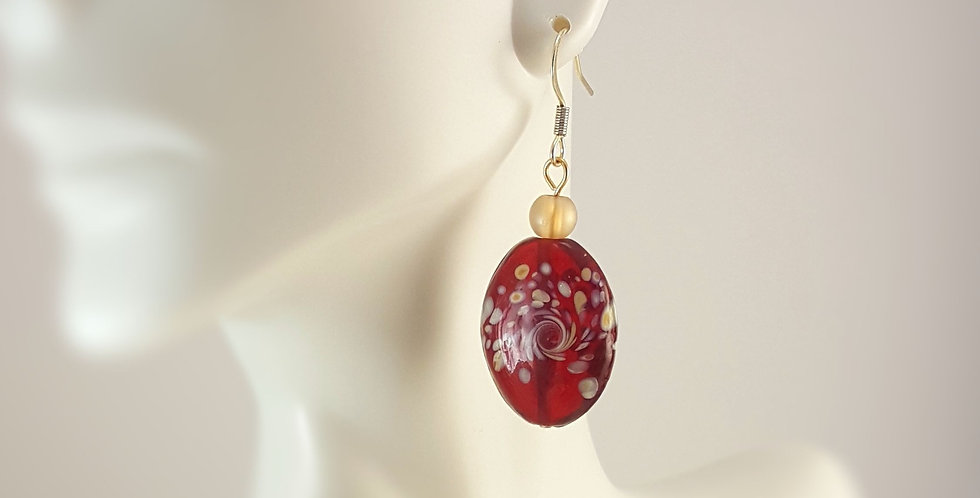 Red Lampwork Glass with Gold and Peach Earrings