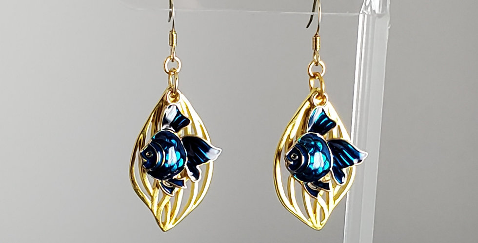 Gold Enameled Fish Earrings - Blue