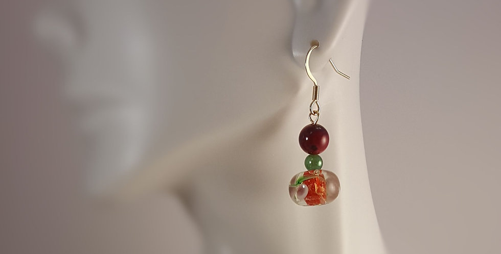Spring Lampwork Glass Earrings - Pink Green Yellow Floral