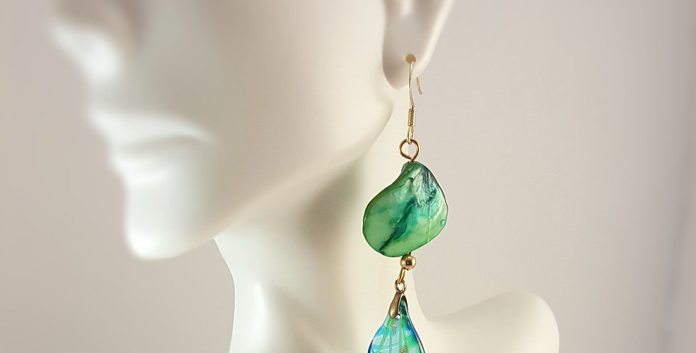 Green Mother-of-Pearl Nugget with Teal Lampwork Glass Dangle Earrings