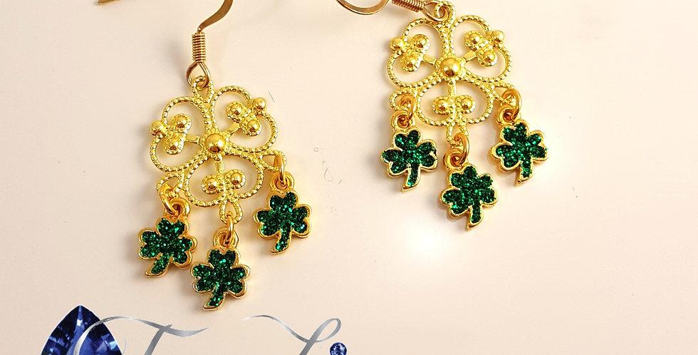 Shamrock Chandelier Earrings - Gold