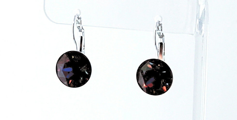 SS55 Swarovski Leverback Earrings - Silver - Electra