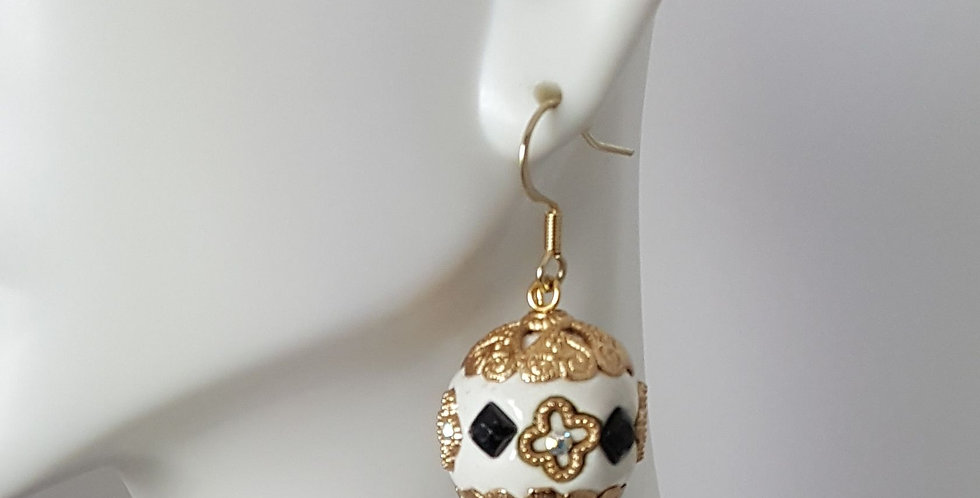 White, Black, Gold Sphere Earrings