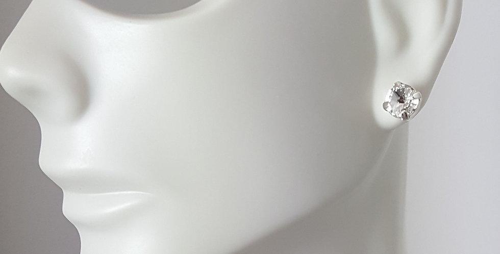 SS29 Swarovski Earrings- Silver Clear