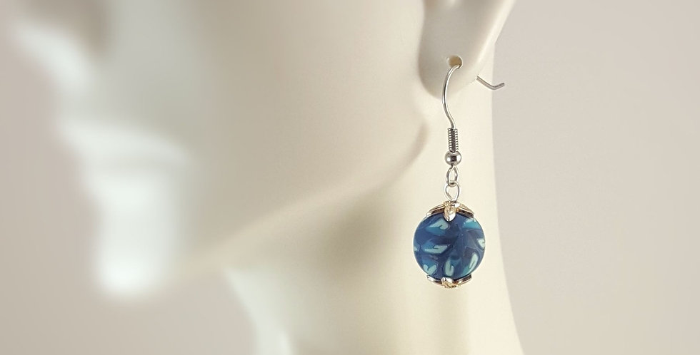 Blue and Silver Polymer Clay Rounds Earrings