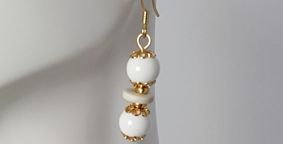 White Gumball Earrings with Gold Bead Caps