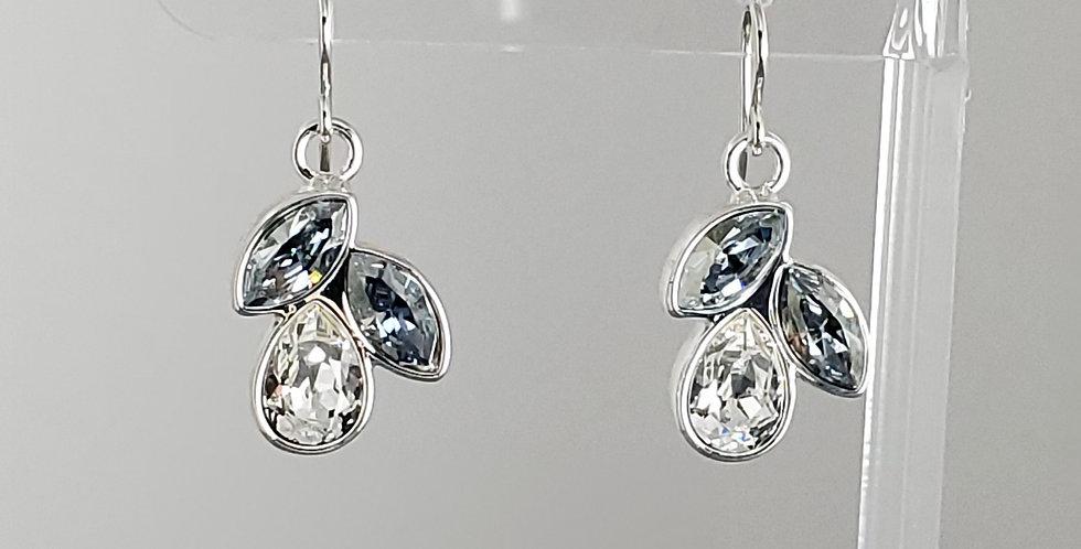 Swarovski Raindrop Earrings - Clear and Misty Blue