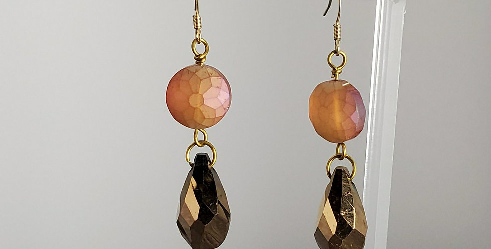 Peach Faceted Glass Coin with Gold Briolette Earrings