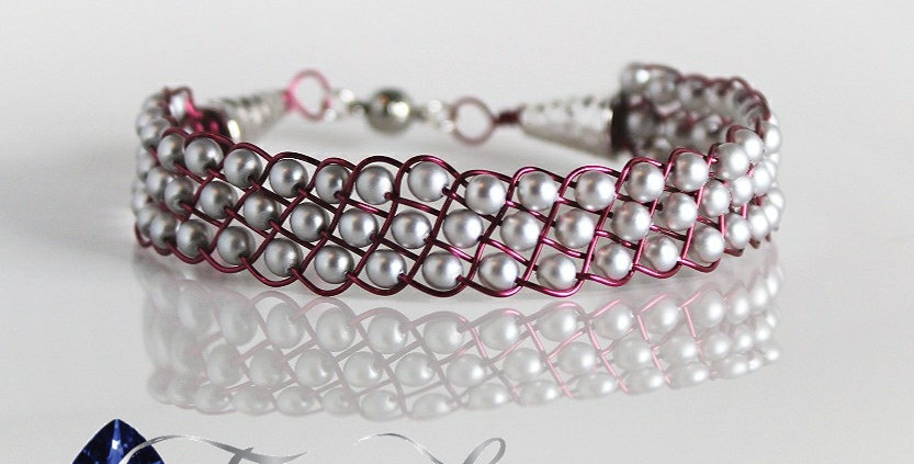 Purple and Swarovski Pearl Braided Wire Bracelet