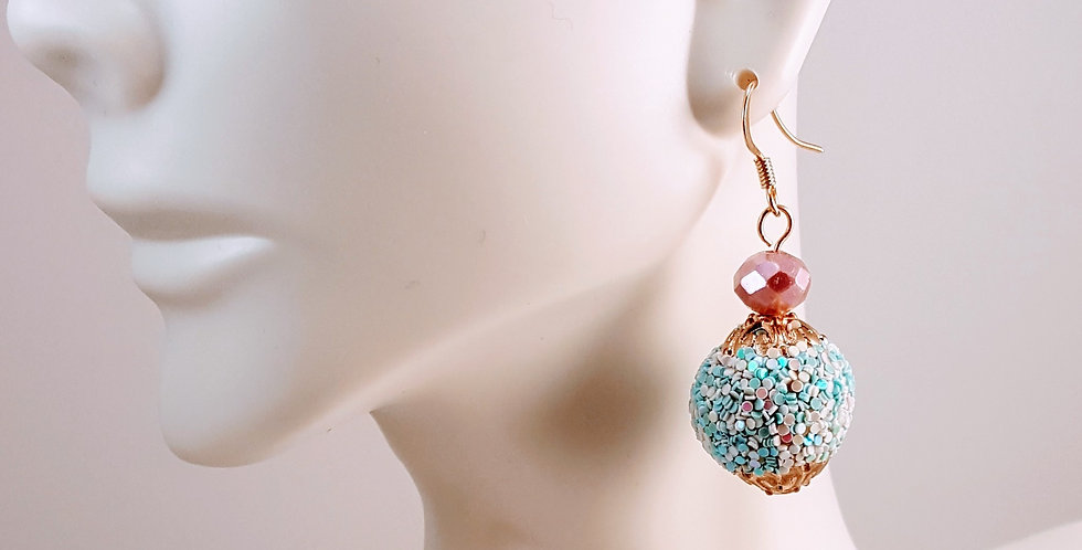 Pastel Glitter Gumball Earrings - Pink