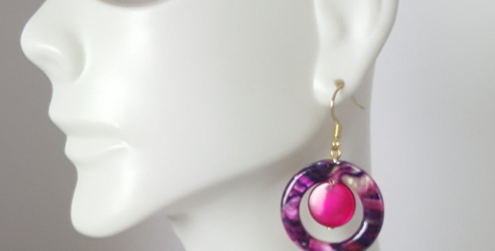Pink Purple Donuts with Magenta Earrings