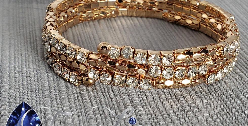 Gold Memory Wire Rhinestone Bracelet