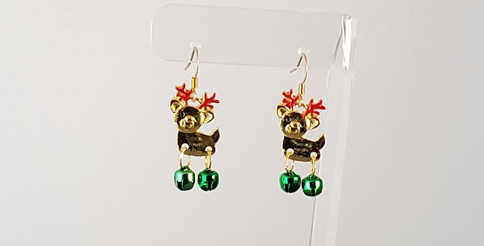 Golden Reindeer Earrings