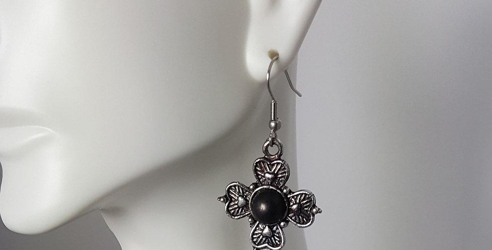 Antiqued Small Cross Earrings - Black