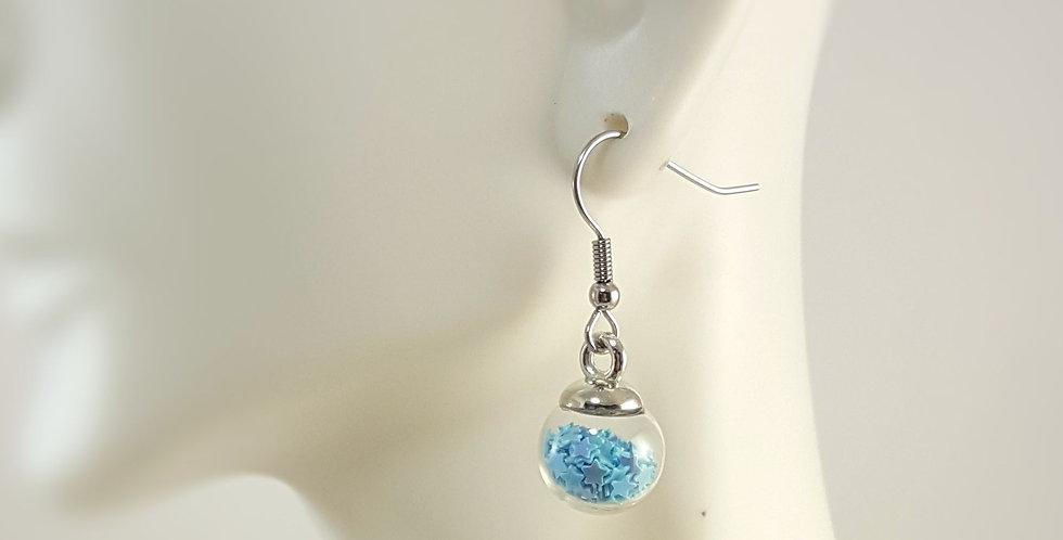 Mini Confetti Glass Earrings - Light Blue