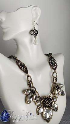 Antiqued Gold Flower Necklace