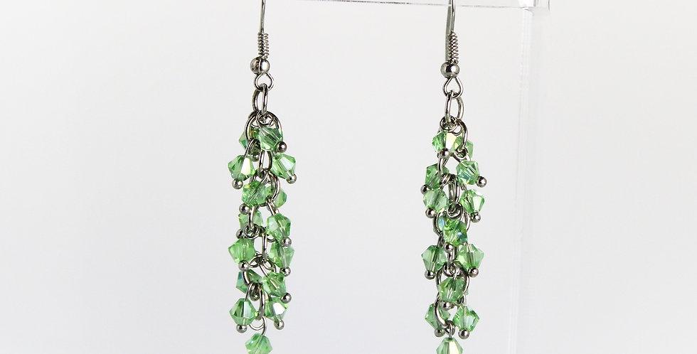 Bicone Cluster Earrings - Green