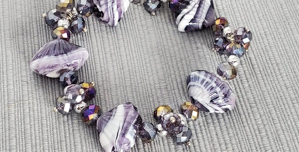 Lampwork Glass Glass Elastic Bracelet - Purple