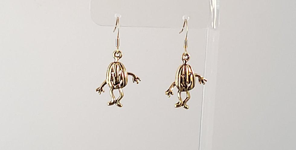 Dancing Jack O' Lantern Earrings - Gold