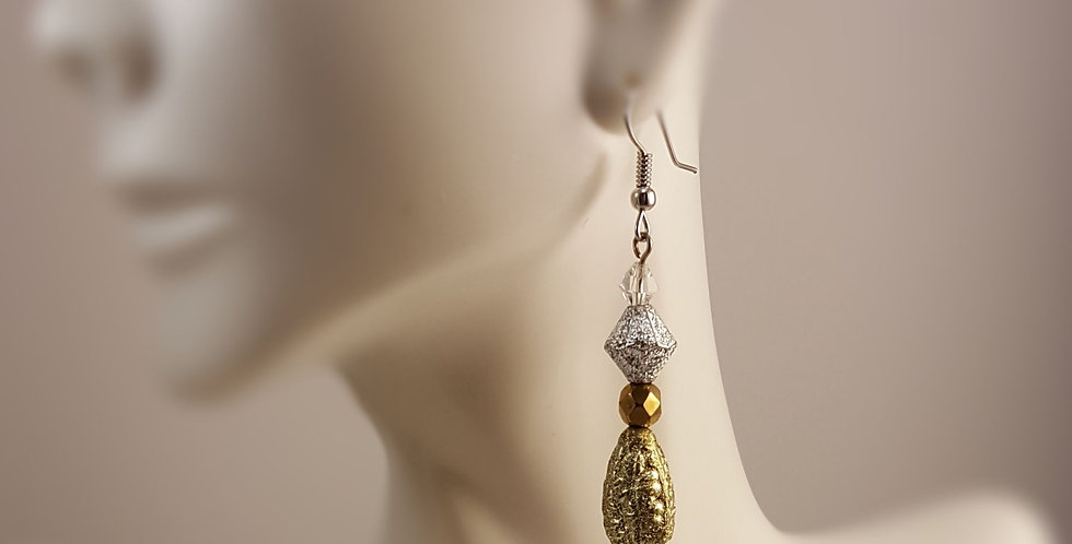 Acrylic Gold and Silver Dangle Earrings