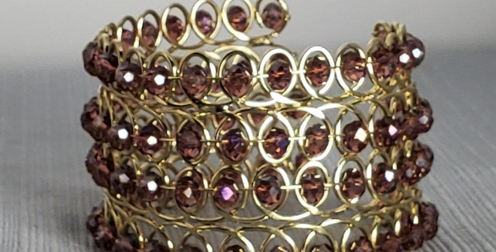 Wire Wrap Rhondelle Cuff - Gold, Purple