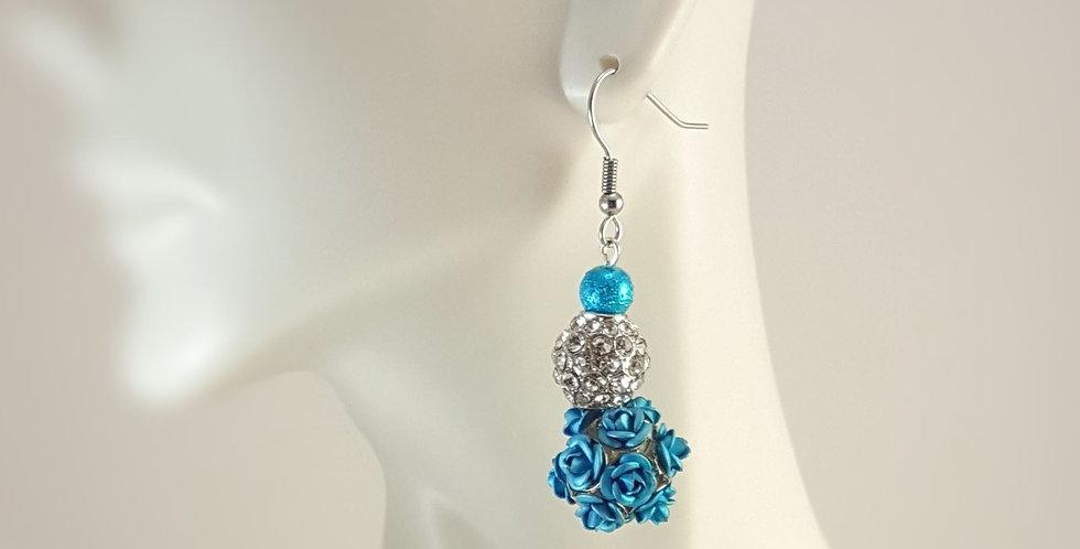 Metal Rose Dangle Earrings