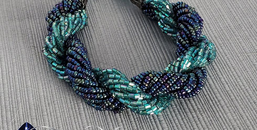 Multi-strand Twist Bracelet - Dark Blue/Teal