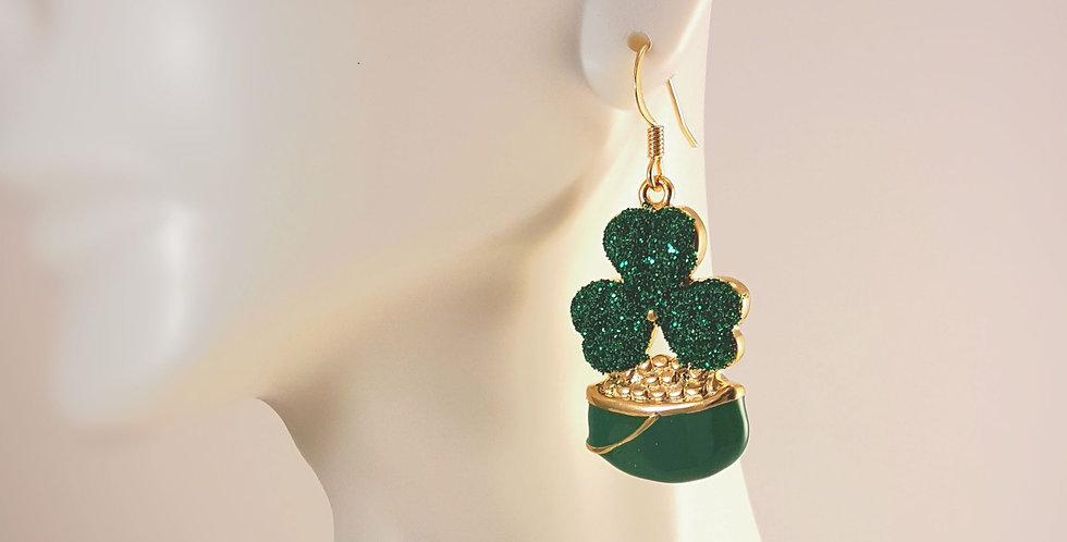 Pot of Gold Shamrock Earrings