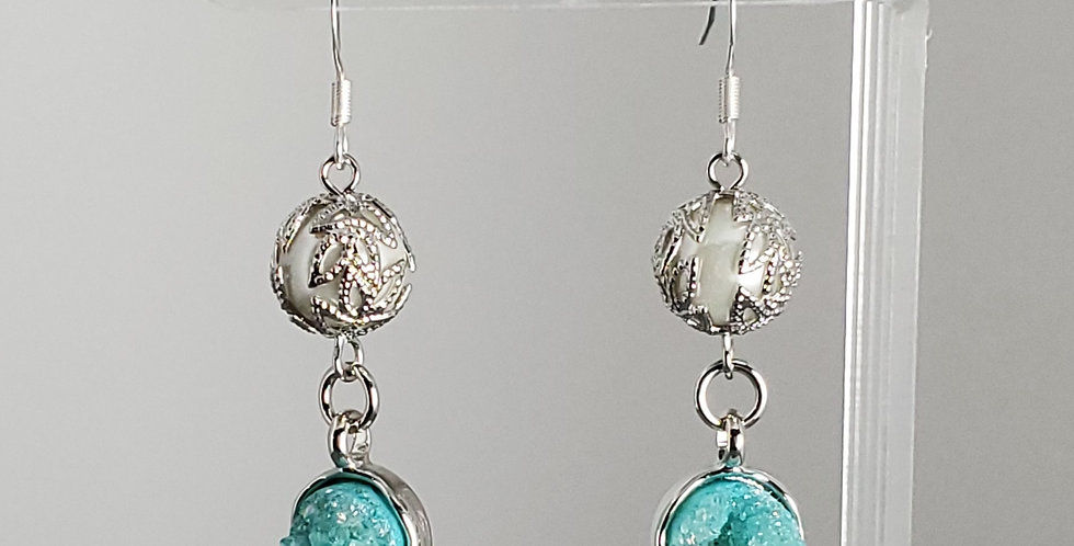 White Glass Pearl, Silver Cap with Druzy Drop Earrings - Blue Round