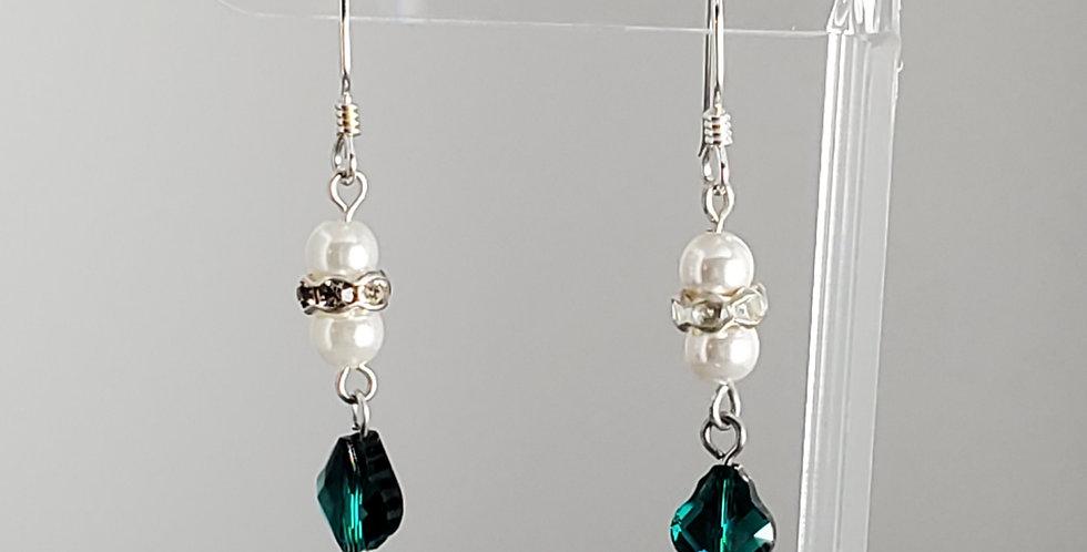 Swarovski and White Round Earrings - Emerald Baroque