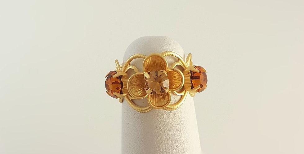 Swarovski Crystal Topaz Ring