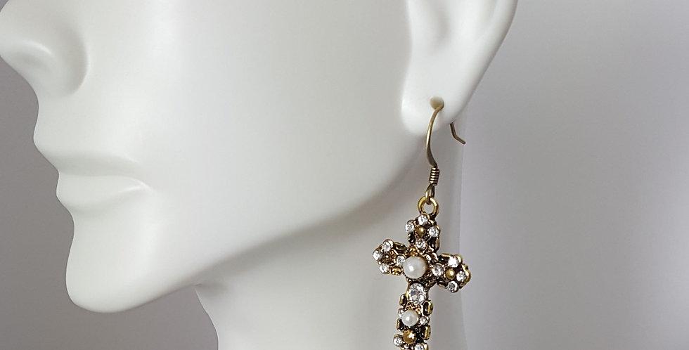 Gold Pearl Cross on Fishhook Earrings