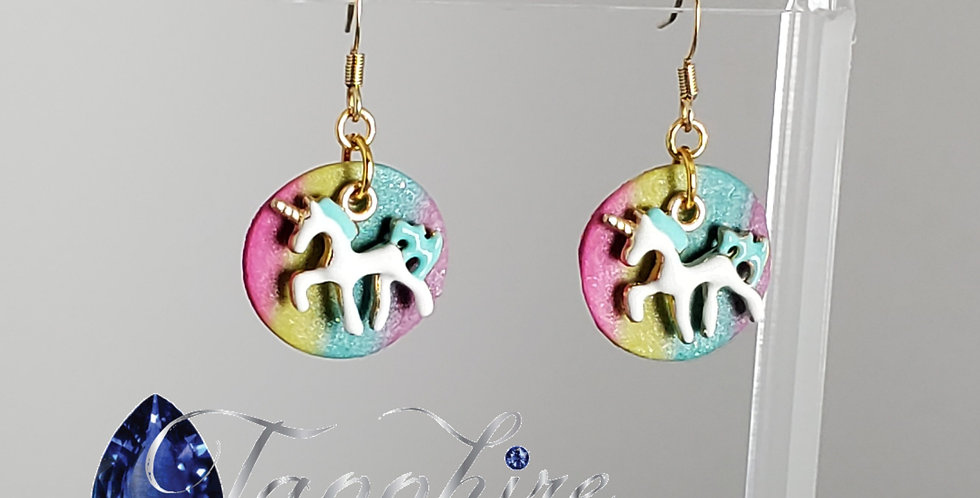 Unicorn with Rainbow Earrings - Fishhook