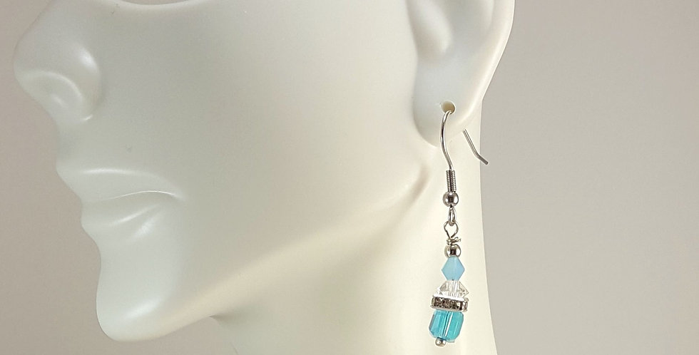 Glass Cube with Square Rondelle Earrings - Clear Blue