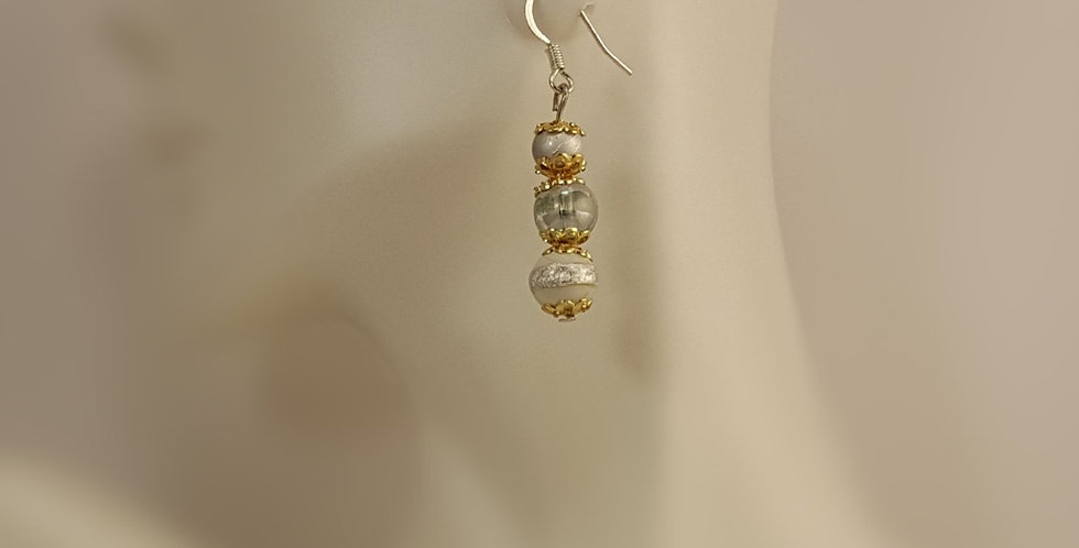 Eclectic Lampwork Glass Glass Earrings - White Silver Gold
