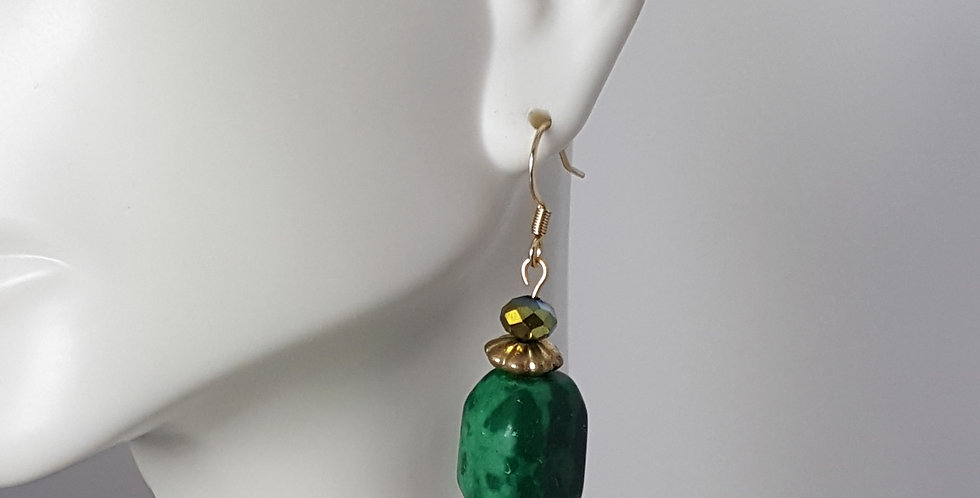 Antiqued Gold Green Stone Fishhook Earrings