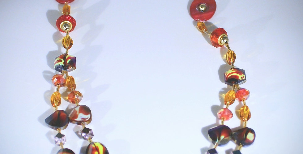 Marbled Millefiori Glass Necklace and Earrings Set - Red
