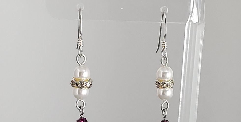 Swarovski and White Round Earrings - Siam Baroque