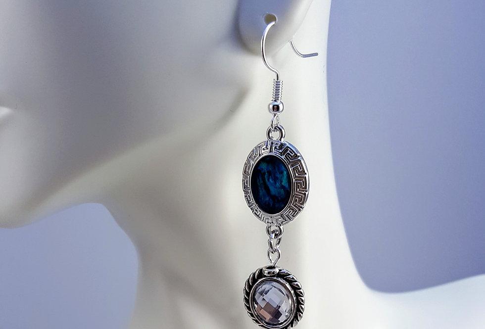Paua Shell Earrings - Oval