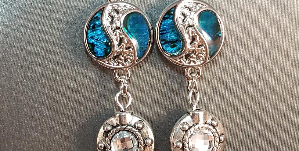 Paua Shell Earrings - Yin Yang - Circle