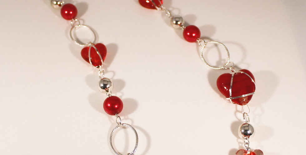 Silver Wrapped Red Lampwork Necklace