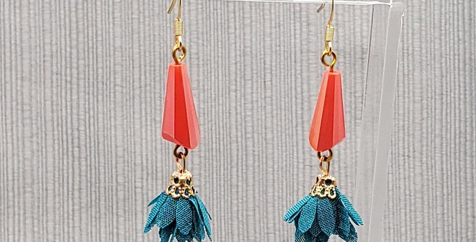 Salmon and Teal Tassel Earrings