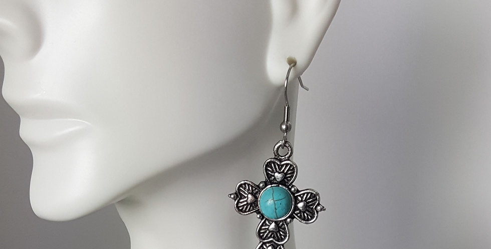 Antiqued Small Cross Earrings - Blue