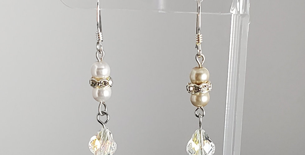 Swarovski and White Round Earrings - Clear AB Baroque