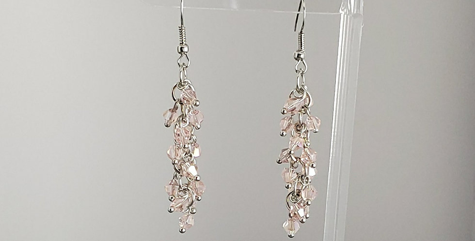 Bicone Cluster Earrings - Pink
