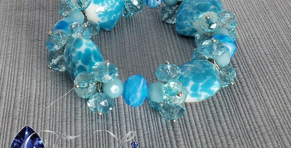 Lampwork Glass Glass Elastic Bracelet - Blue