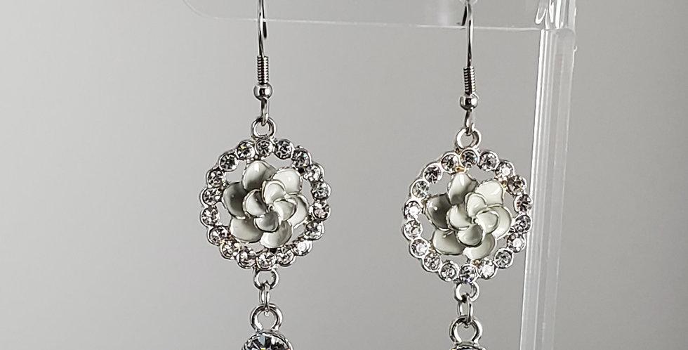 Silver Rhinestone Wreath with Enameled Flower Earrings