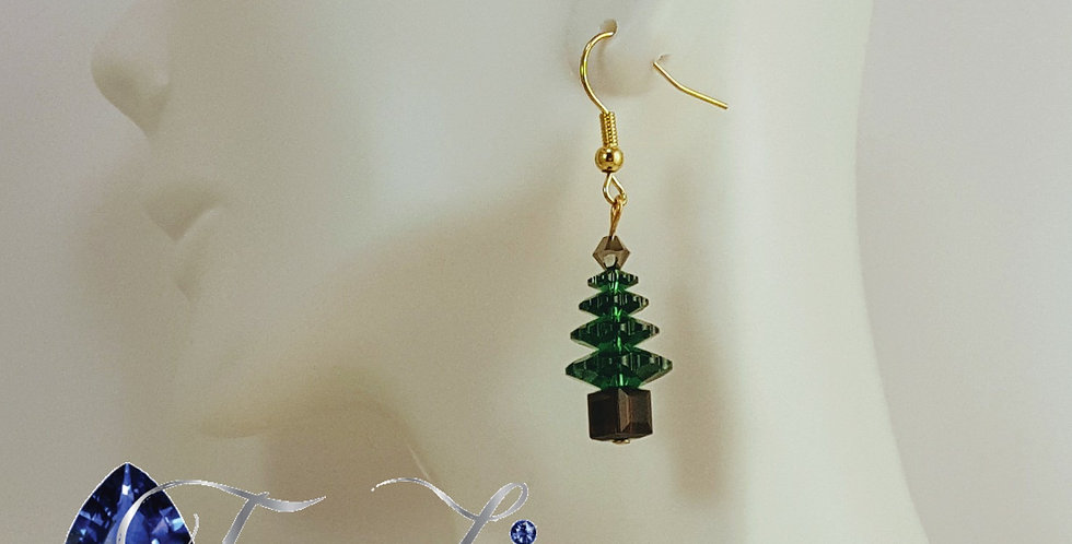 Swarovski Christmas Tree Earrings  - Gold Brown